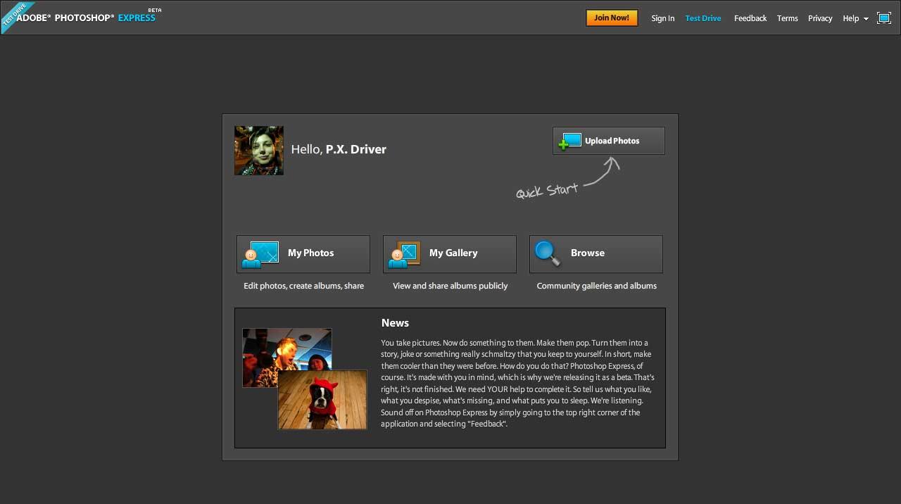 Adobe Photoshop Express est … en ligne !