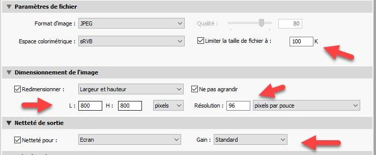 Réduire la taille des photos dans Lightroom Export