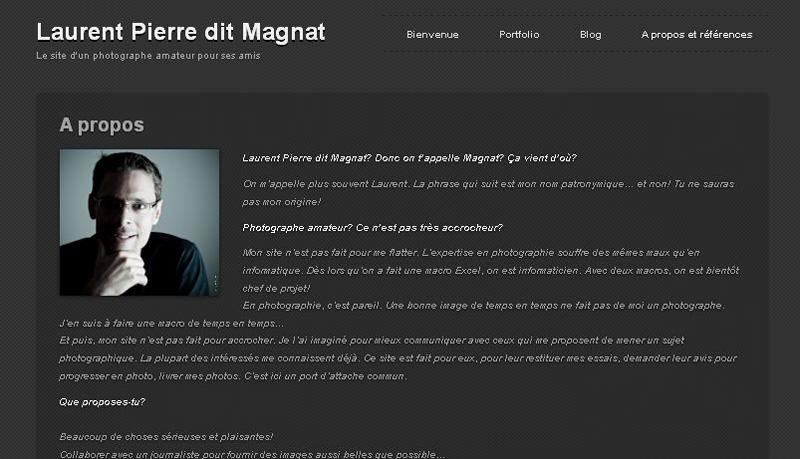 utiliser WordPress pour faire une page d'accueil de photoblog