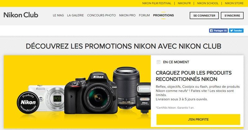 Promotions Nikon, remises, offres spéciales, cashback, remboursements
