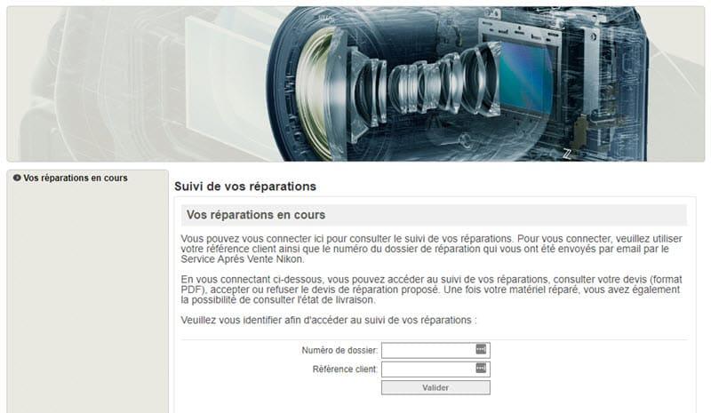 Suivi des réparations Nikon SAV support technique