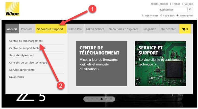 Site Nikon support et téléchargements
