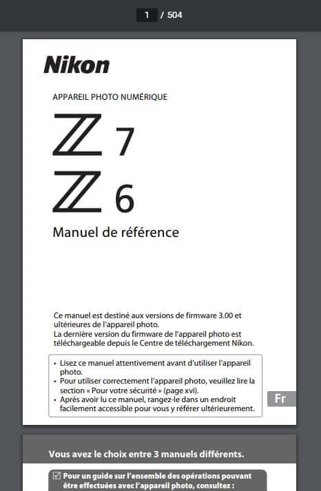Manuel utilisateur Nikon en PDF