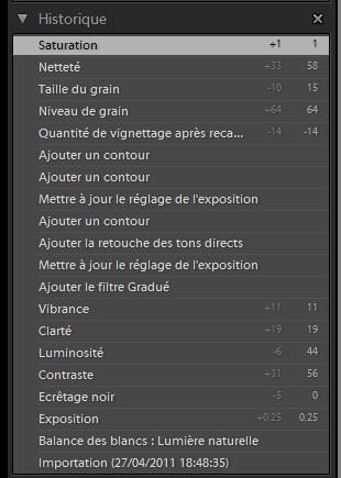 historique de traitement d'un fichier RAW dans Adobe Lightroom