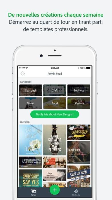 Application Spark Post Adobe pour iPhone - 10 applications pour Instagram pour les photographes