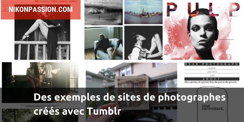 Des exemples de sites de photographes créés avec Tumblr
