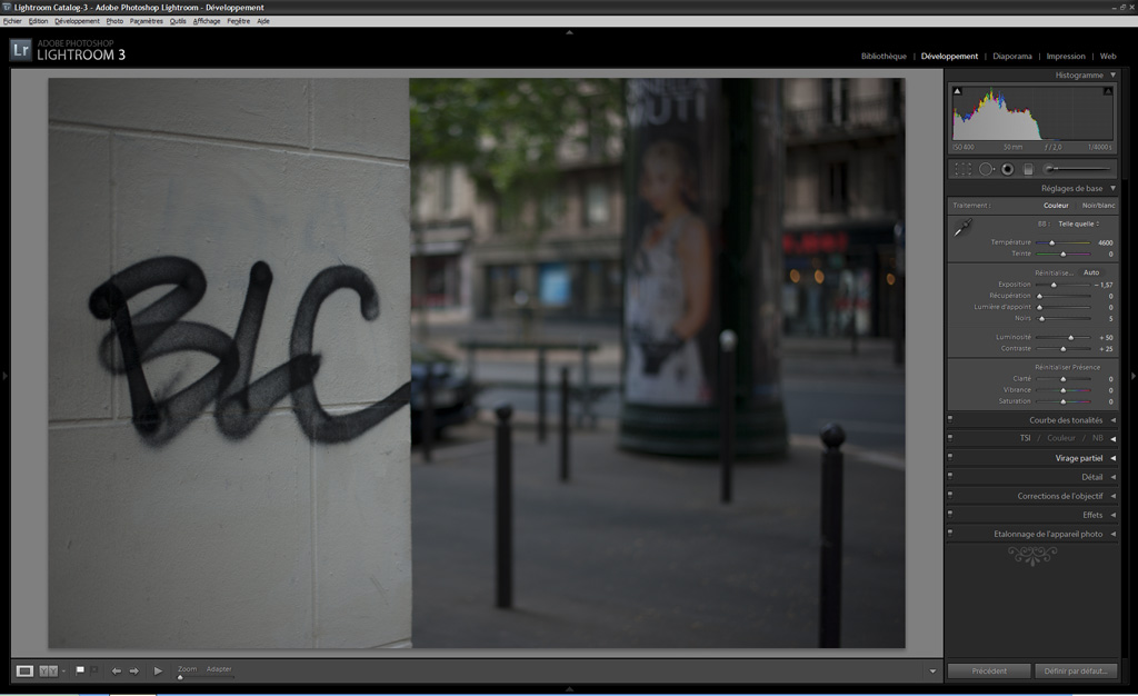 exemple de correction d'exposition avec Lightroom et histogramme