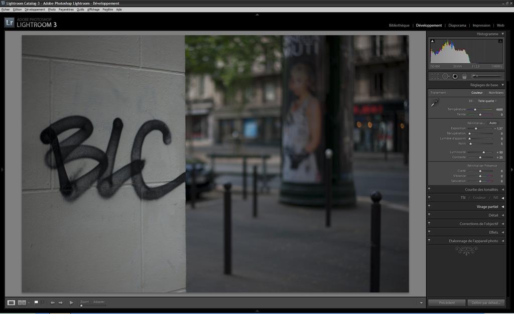 exemple de correction d'exposition avec Lightroom et histogramme