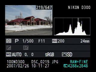 Nikon D300 histogramme