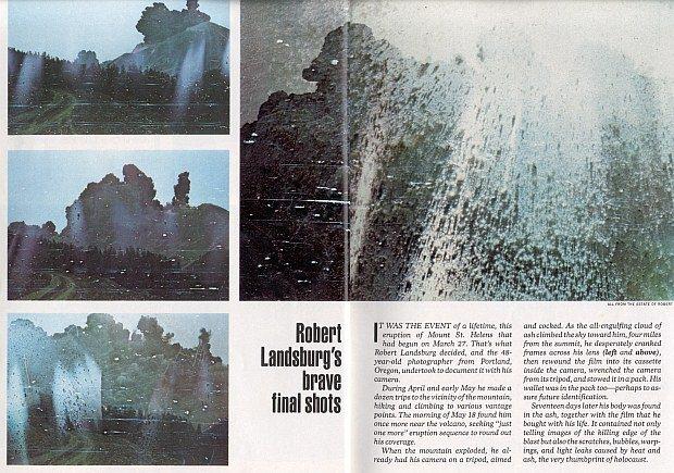 Robert Landsberg meurt en protégeant ses photos de l'éruption du Mont St Hélène en 1980