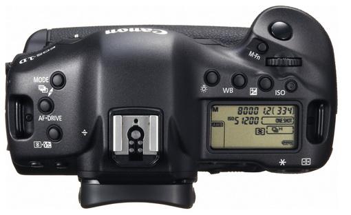 Canon EOS-1D X vu de dessus