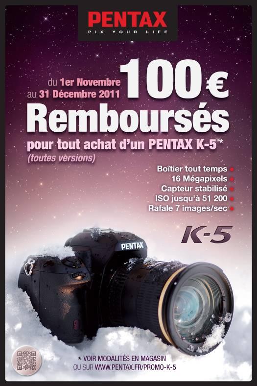 Pentax vous rembourse 100 euros pour l'achat d'un Pentax K-5 ou d'un Pentax Q