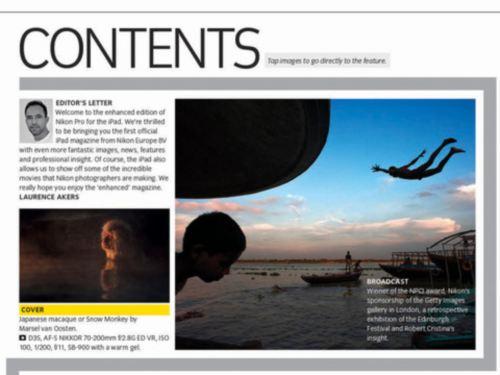 Application pour iPad magazine Nikon Pro