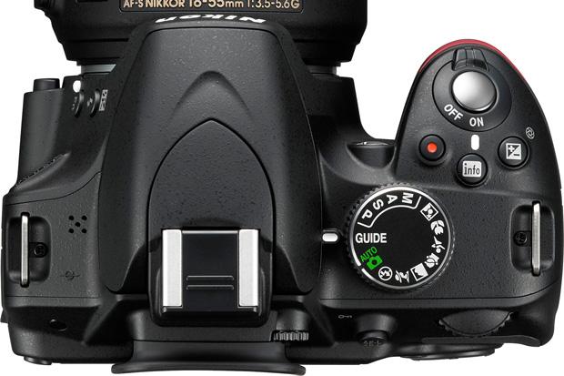 Nouveau Nikon D3200 vu de dessus