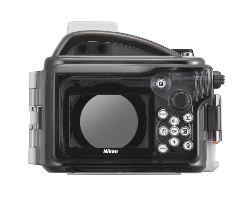 Nikon WP-N1 caisson étanche pour le Nikon One J1 et J2 vu de dos