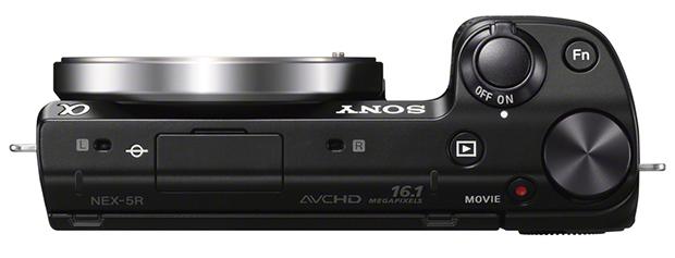 Sony NEX-5R: vue de dessus, les commandes