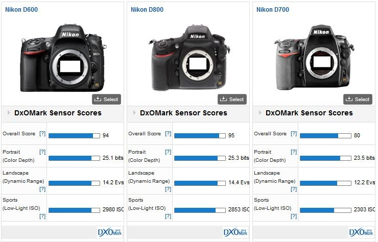 Comparaison Nikon D600 - Nikon D800 - Nikon D700