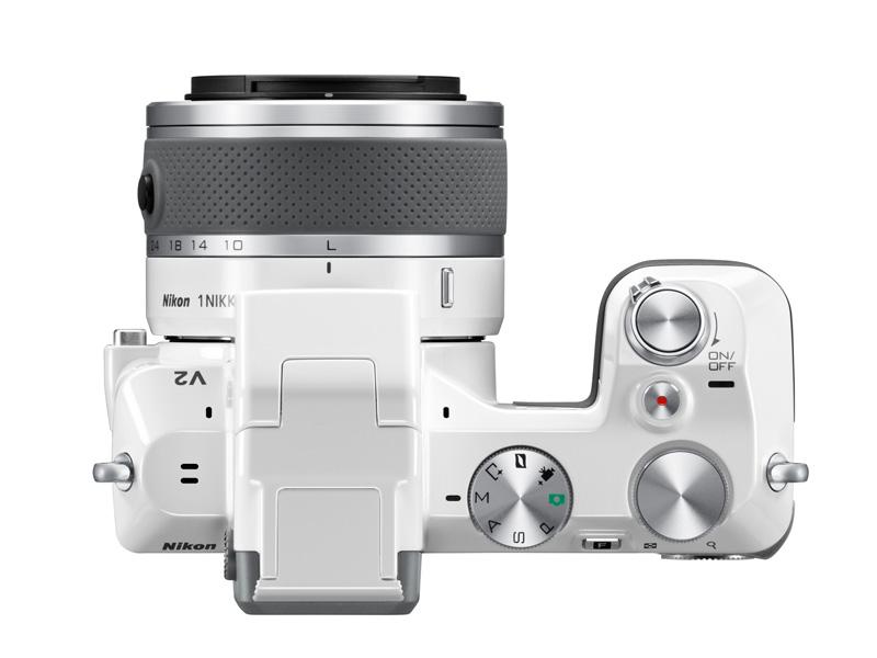 Nikon 1 V2 blanc vu de dessus