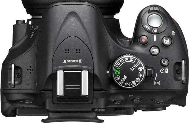 Nikon D5200 : vu de dessus