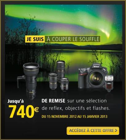 """Promotion Nikon """"Je suis à couper le souffle"""" sur les boîtiers, objectifs et flashs jusqu'au 15 janvier 2013"""