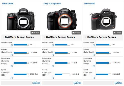 Comparatif capteur Nikon D600 - Sony Alpha 99 : le test DxO