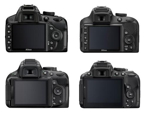 Nikon D3200 - D3300 - D5200 - D5300 : comparaison face arrière
