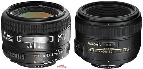 Nikon 50mm f/1.4 AF et AF-S