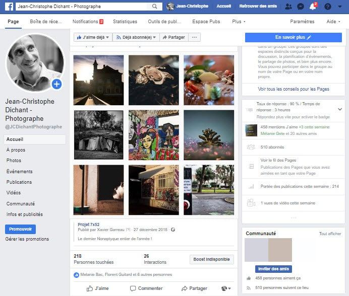 Facebook pour les photographes - compte JCDichant