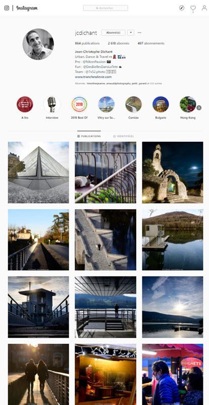 Instagram pour les photographes - compte JCDichant