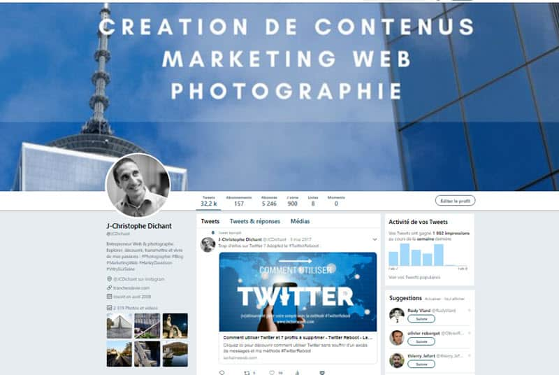 Twitter pour les photographes - compte JCDichant