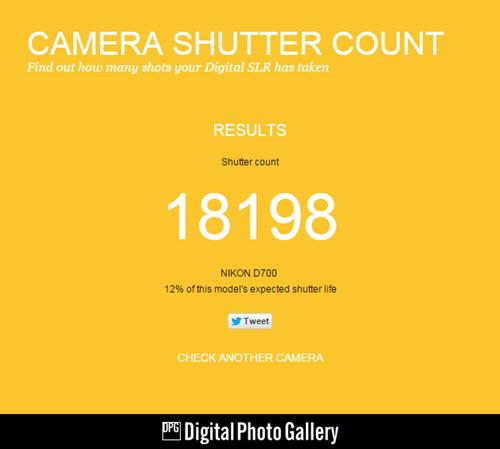 Connaître le nombre de clics d'un boîtier photo via camera shutter count
