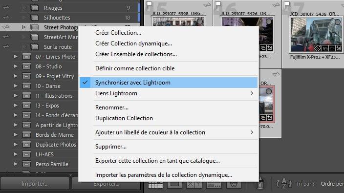 Comment synchroniser une collection de photos avec Lightroom Classic