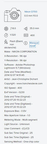 Comment lire les données EXIF reflex Flickr