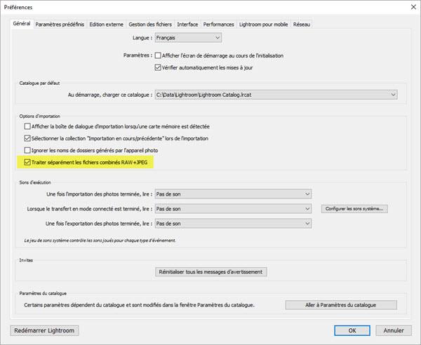 Comment séparer RAW+JPG après l'import dans Lightroom ?