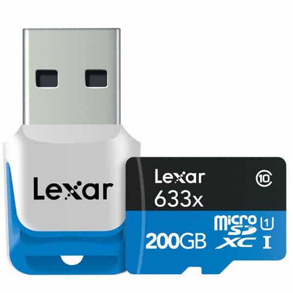 carte Lexar microSDXC UHS-I 633x 200 Go haute performance