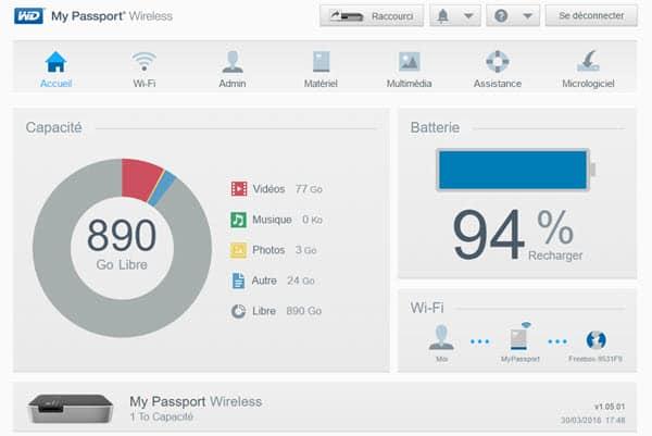 Test WD MyPassport Wireless, disque externe sans fil