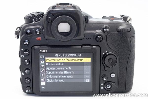 Test Nikon D500 écran arrière et menus