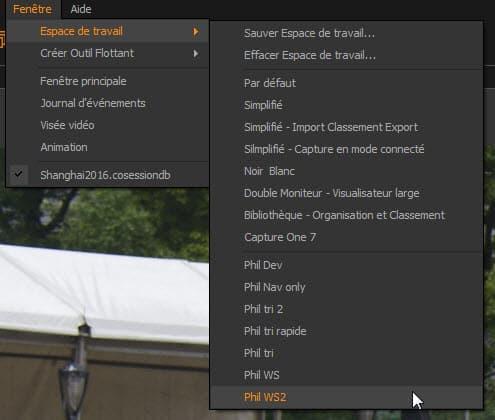 raccourcis Capture One Pro espace de travail