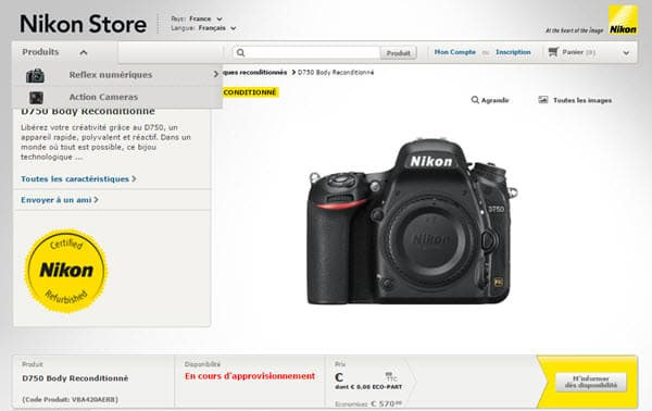 Produits reconditionnés Nikon