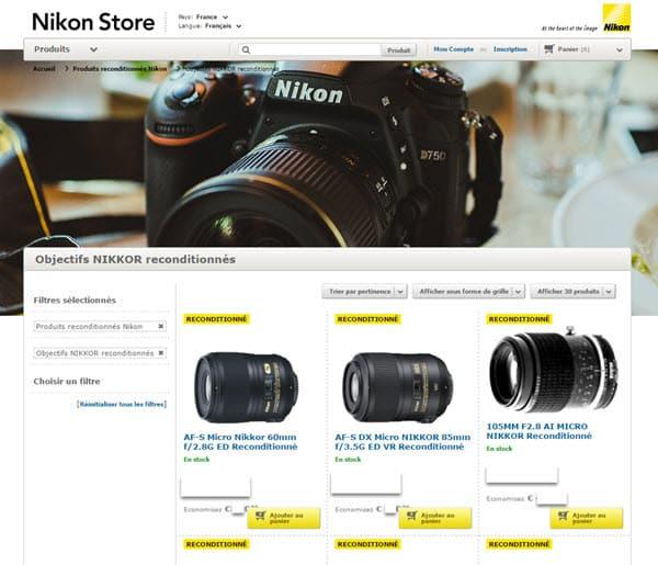 Produits Nikon reconditionnés