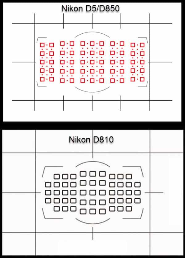 Comparatif Nikon D810 - D850 : les viseurs et l'autofocus