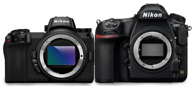 comparaison de taille entre les Nikon Z 6 et Z 7 et le reflex Nikon D850