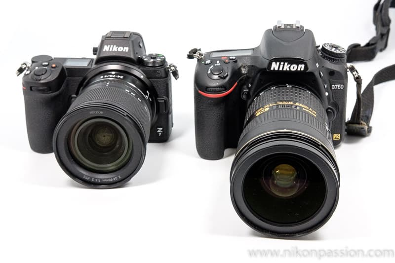 Test du Nikon Z7 : comparaison de taille entre Nikon Z7 et Nikon D750