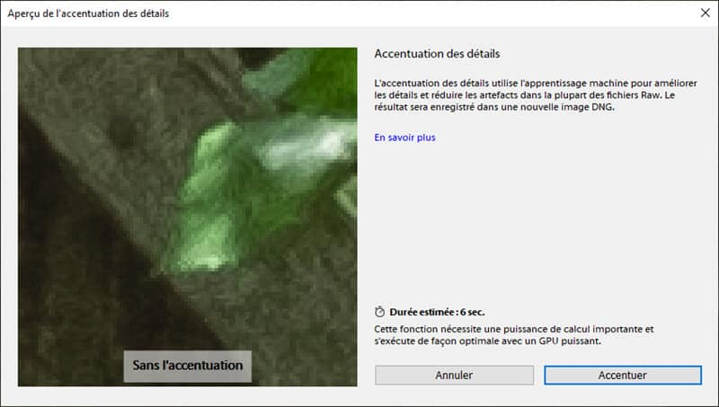 Lightroom Classic CC 8.2 accentuation des détails avec l'intelligence artificielle