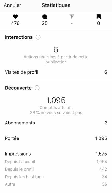 exemple de statistiques sur un compte pro Instagram de photographe