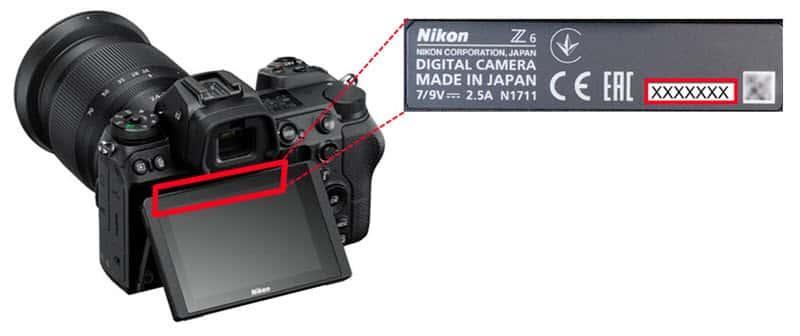 comment trouver le numéro de série du Nikon Z7 et Z6 - rappel pour défaut de système VR