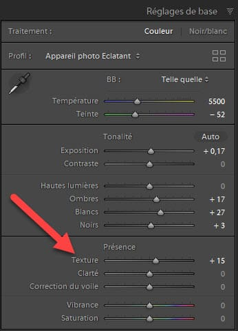 Curseur Texture dans Lightroom