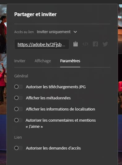 Lightroom Web inviter partager