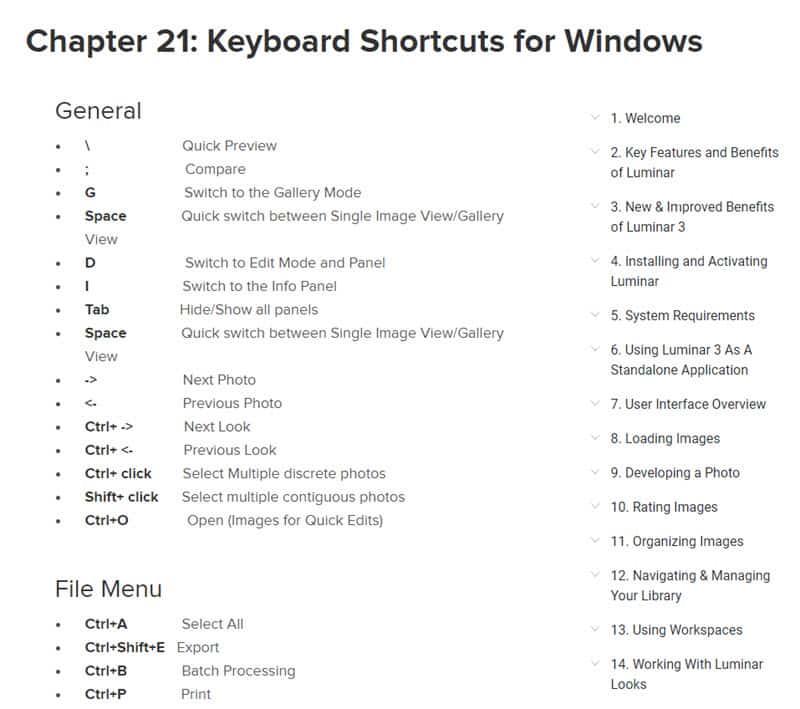 Tous les raccourcis clavier de Luminar 3 pour Windows et MacOS