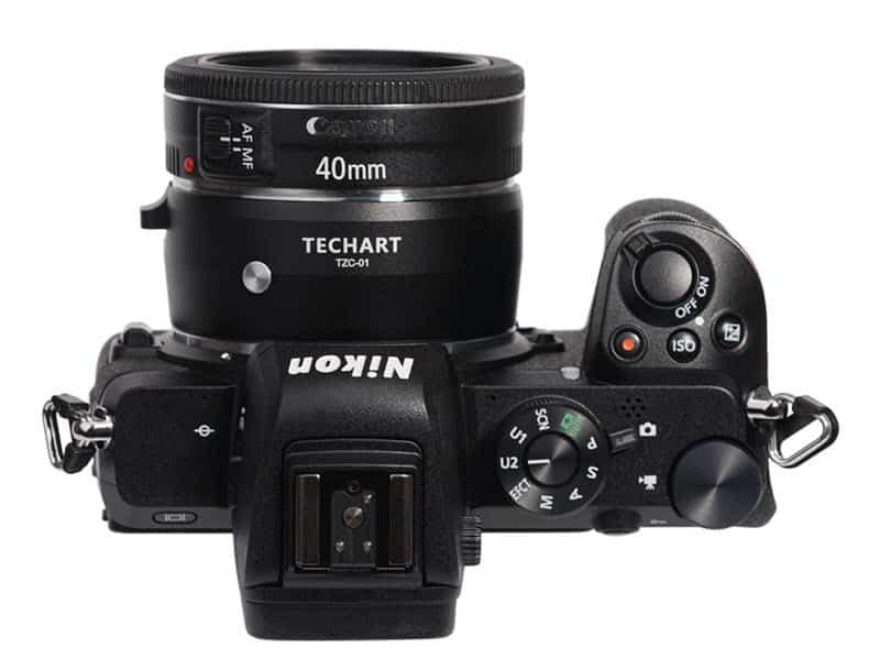 Bague de couplage Canon EF pour hybrides Nikon Z Techart TZC-01